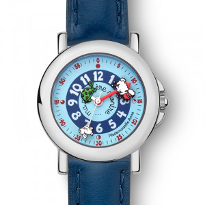 Coffret montre cuir bleu + livre !