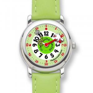 Coffret montre cuir vert + livre !